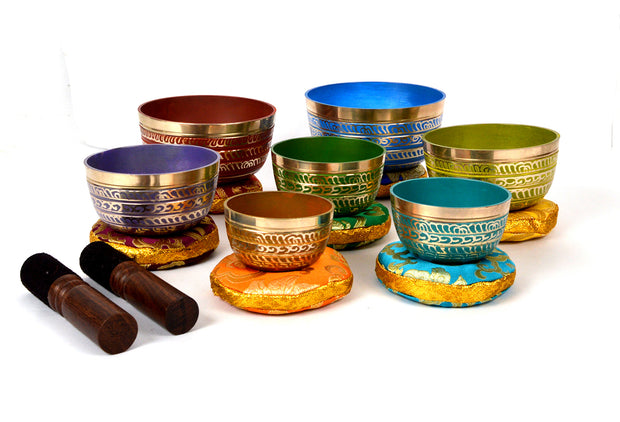Bermoni Tibetan Colorful 7 Chakra Meditation Singing Bowl for Healing Prayer,Yoga with Mallet & Cushion (KTM-SING-1112MSET7) - Craze Trade Limited