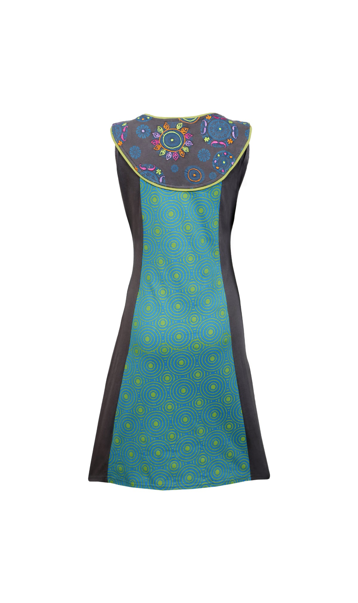 Ladies sleeveless dress with neckline embroidery and circular pattern - Craze Trade Limited