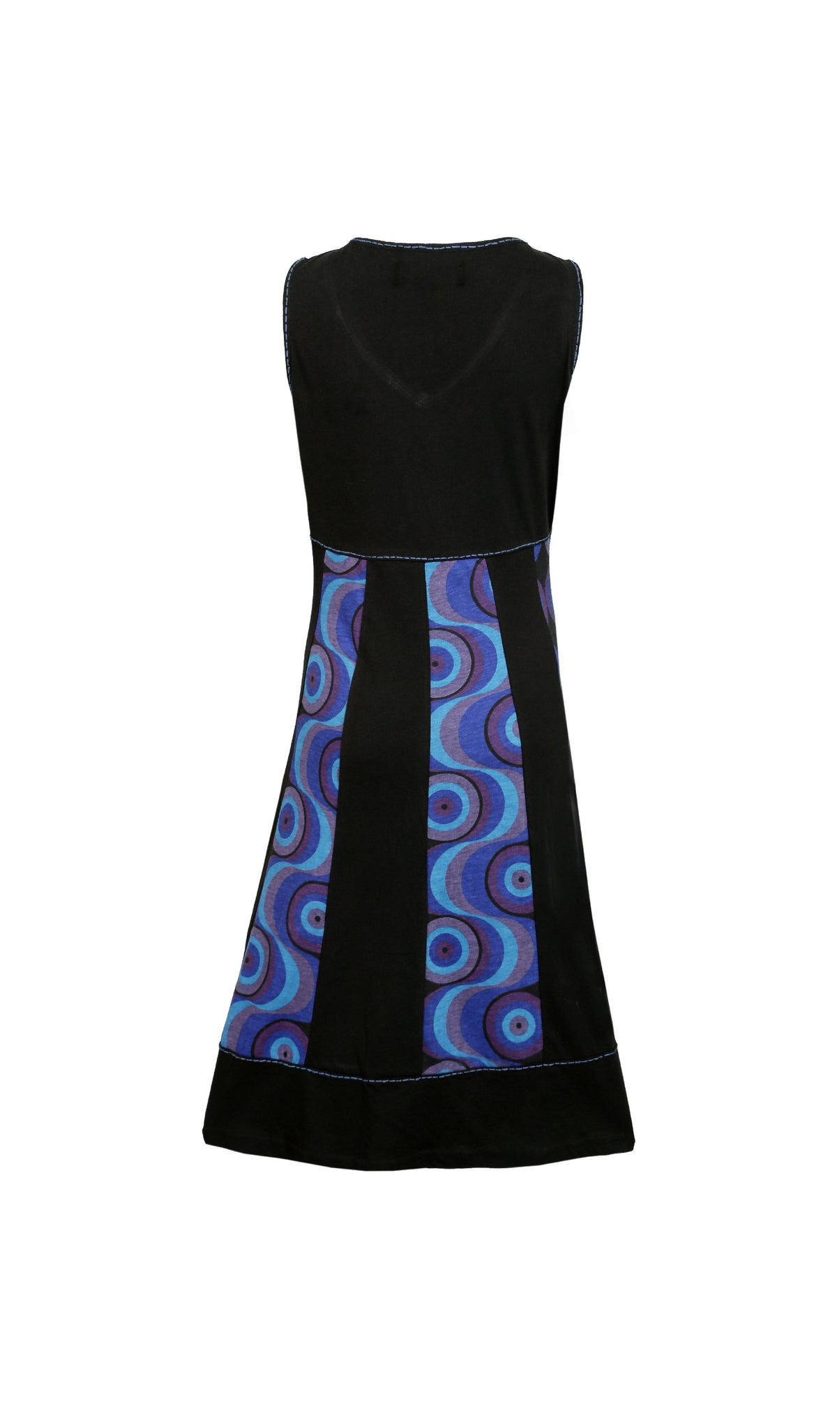 Ladies Summer Sleeveless V-Neck Dress with Bubble Print and Embroidery - Craze Trade Limited