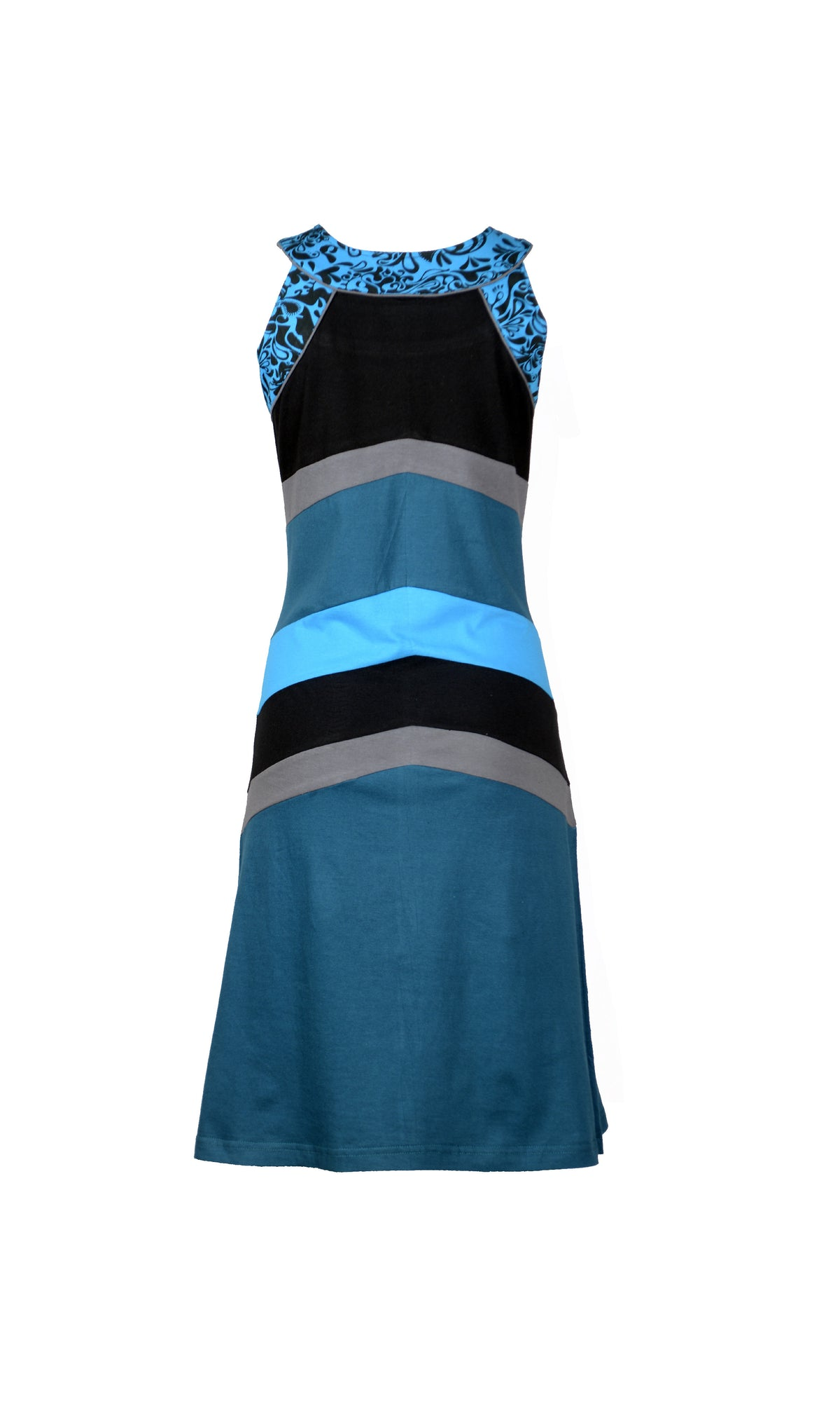 Ladies Summer Sleeveless Round Neck Dress Patch and Print Design-Ocean - Craze Trade Limited