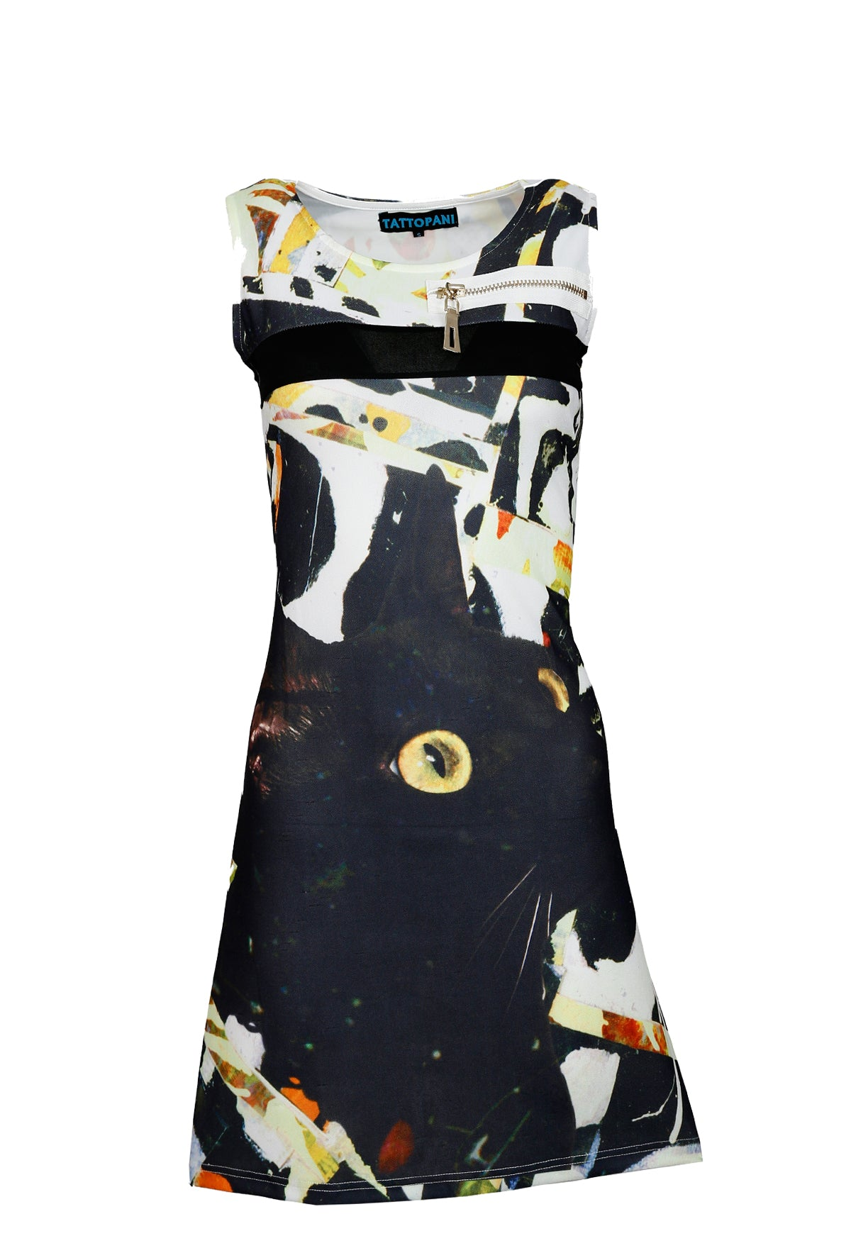 Ladies sleeveless dress with multicolored pattern print - Craze Trade Limited