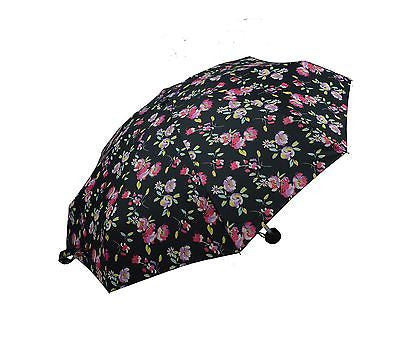 Ladies Colorful Folding Umbrella with floral pattern MINI Size-(0336BLK) - Craze Trade Limited