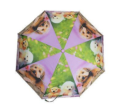 Folding Umbrella with printed PUPPIES. With BOTH AUTOMATIC opening & closing. In 6 colors (3559) - Craze Trade Limited