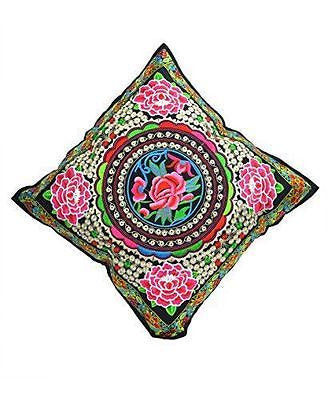 Cushion Cover with floral embroidery 45 x 45cm - BERMONI -(ZZ-10) - Craze Trade Limited