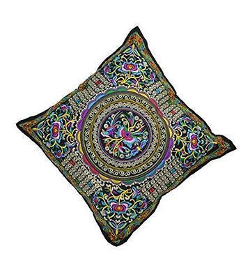 Cushion cover with floral embroidery, 45 x 45cm -(BERMONI ZZ-02) - Craze Trade Limited