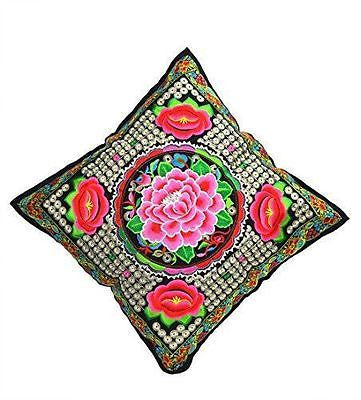 Cushion Cover with floral embroidery 45 x 45cm - BERMONI-(ZZ-11) - Craze Trade Limited