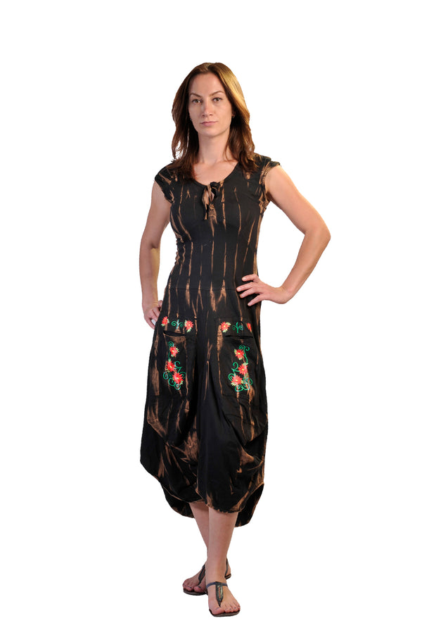 Ladies Short Sleeved Calf Length Dress With Flower Embroidery Printed- LG-BFJ-11 - Craze Trade Limited