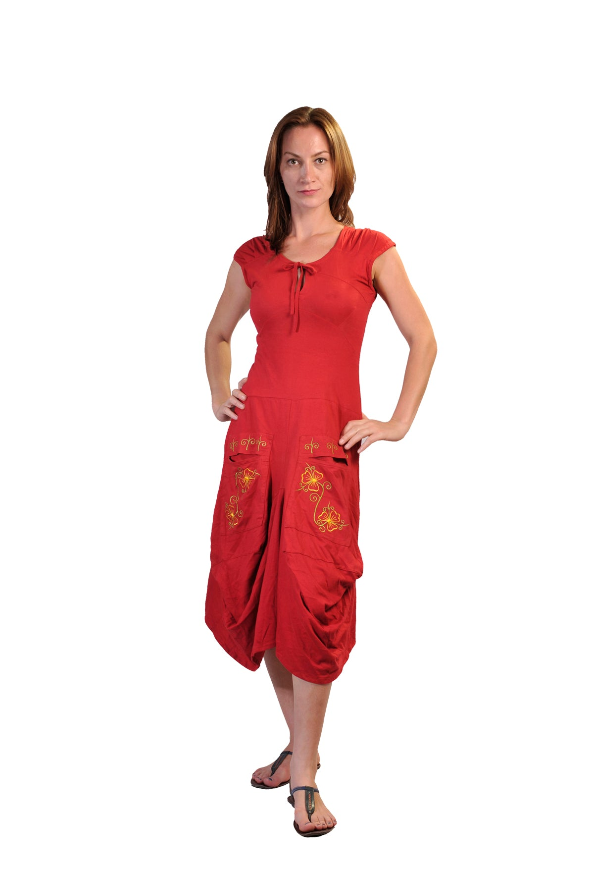 Ladies Short Sleeved Calf Length Dress With Flower Embroidery Printed On Pockets- LG-BFJ-10 - Craze Trade Limited