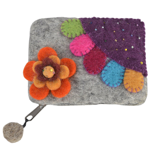 Felt light gray with flower attached and colorful patch coin purse accessories gift- FW-FELT-PR101GRY - Craze Trade Limited