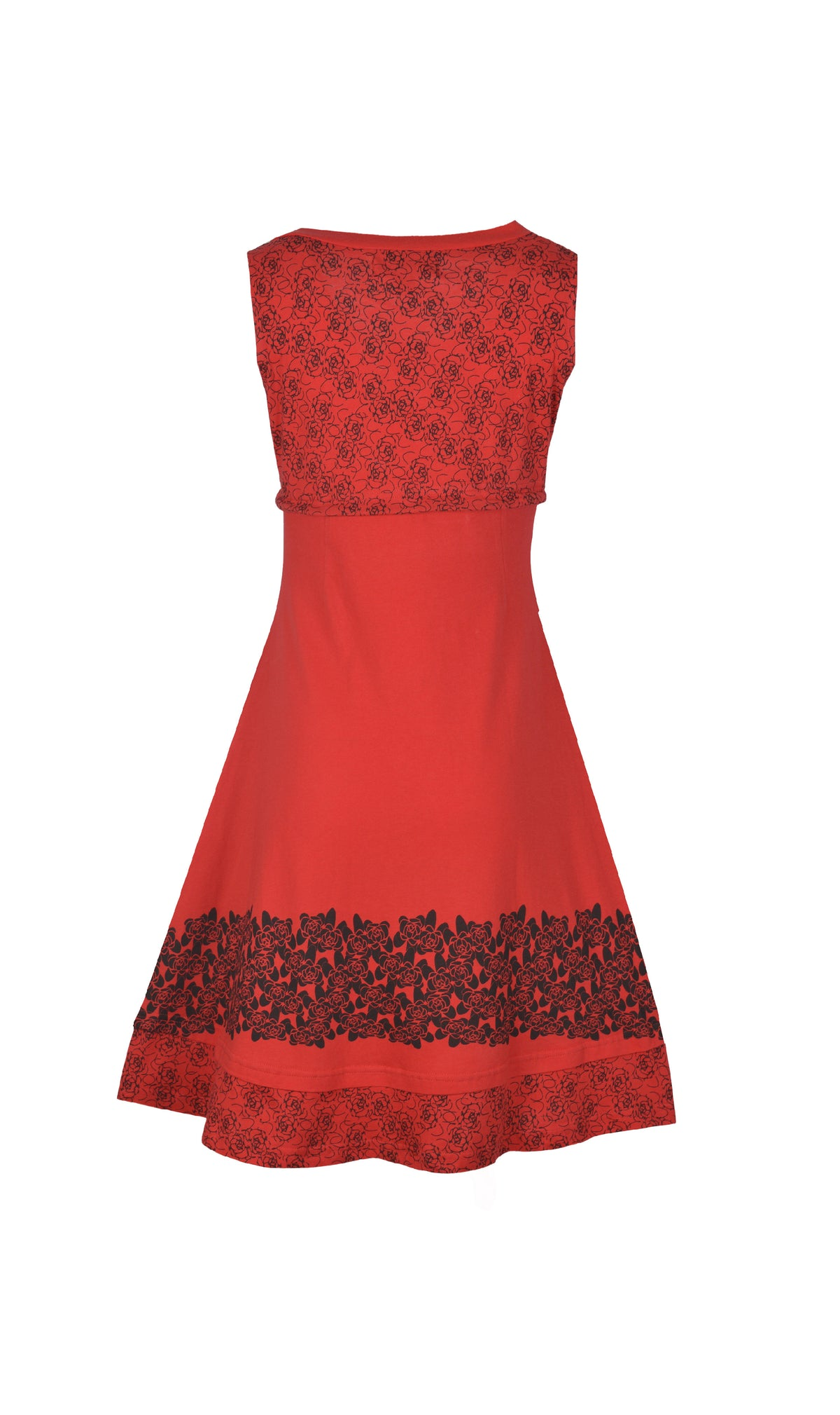 Red Cotton frock Style Sleeveless Skater Dress. - Craze Trade Limited
