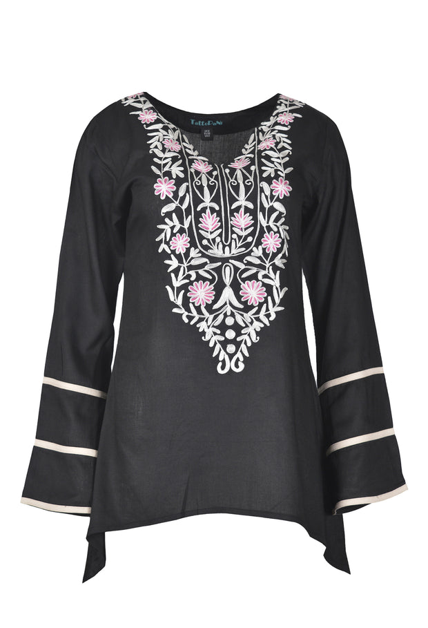Ladies reyon flex long sleeve tops with aari neck design. - Craze Trade Limited