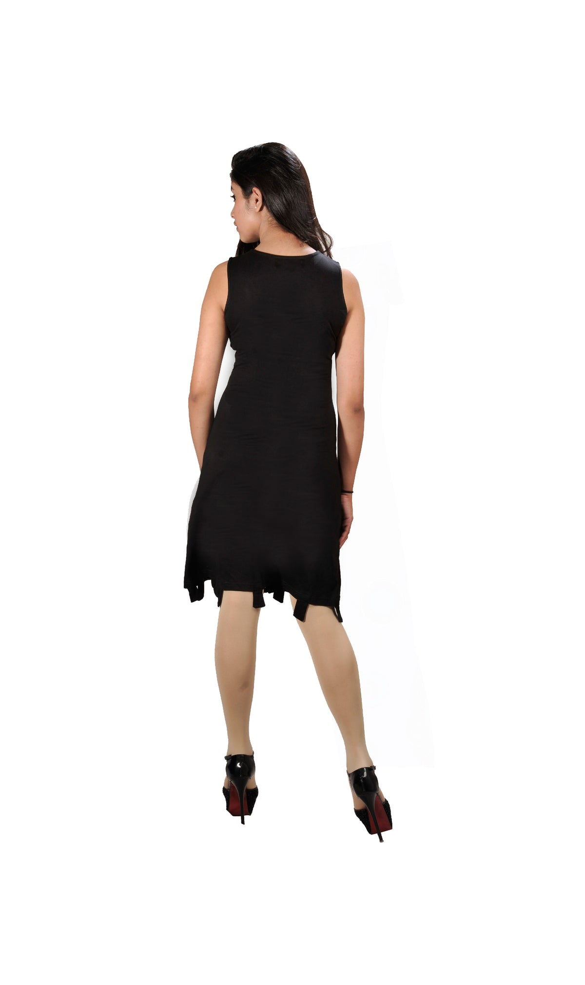 Ladies summer black sleeveless dress with zipper and colorful embroidery - Craze Trade Limited