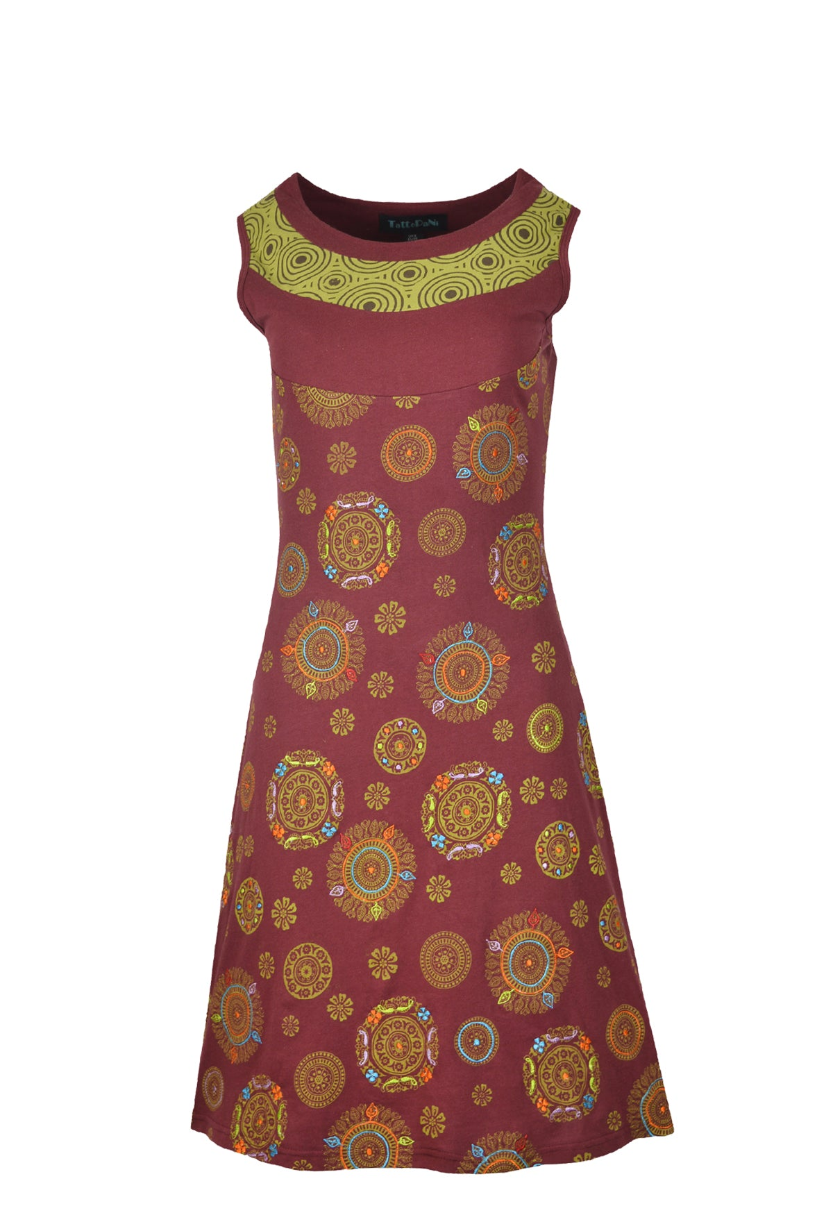 Ladies sleeveless dress with flower print and multi-color embroidery. - Craze Trade Limited