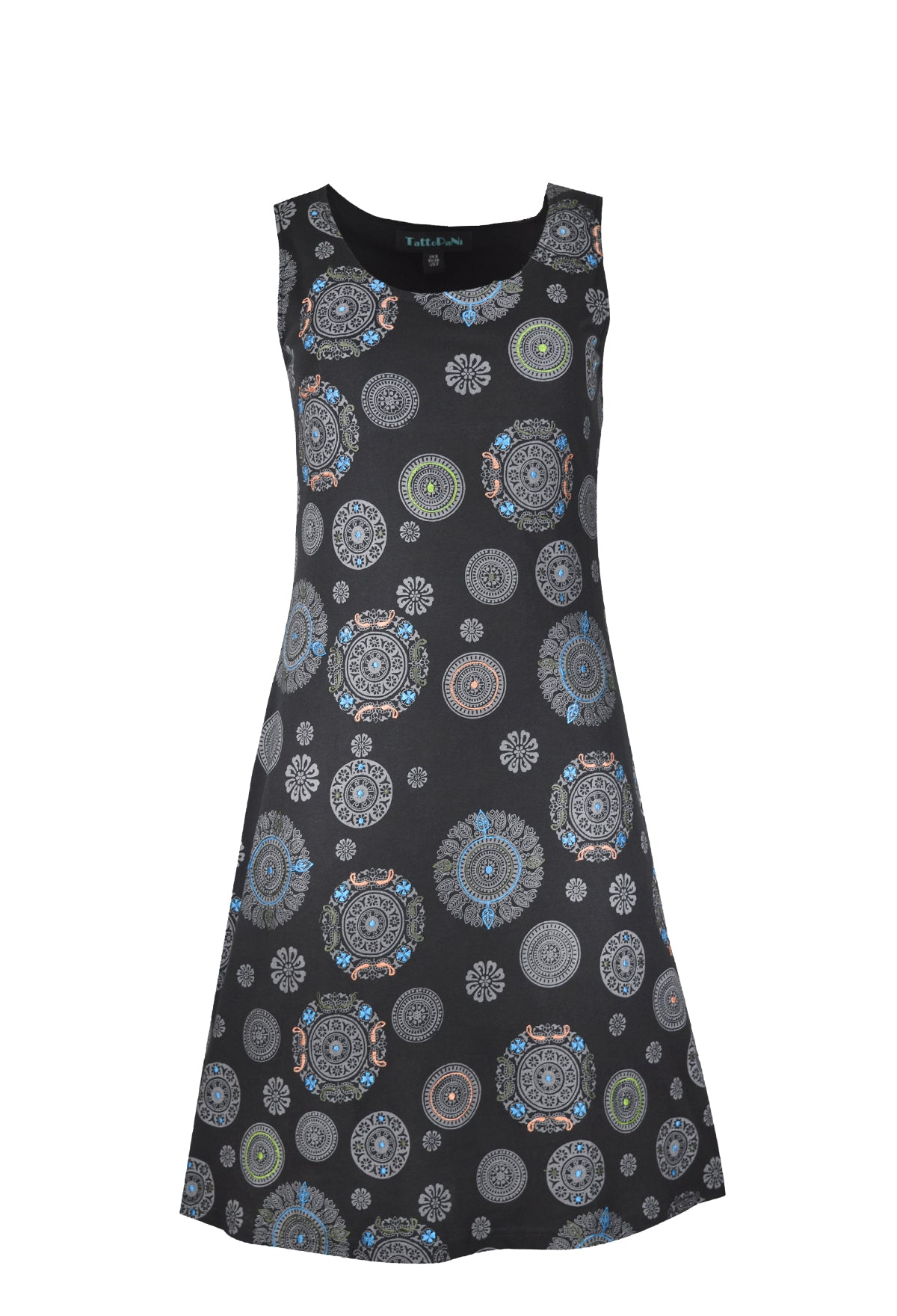 Ladies sleeveless dress with full chakra print and embroidery. - Craze Trade Limited