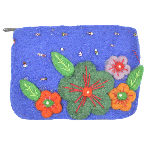 Felt with flower and leaves attached with small beads Coin Purse Accessories Gift - Craze Trade Limited