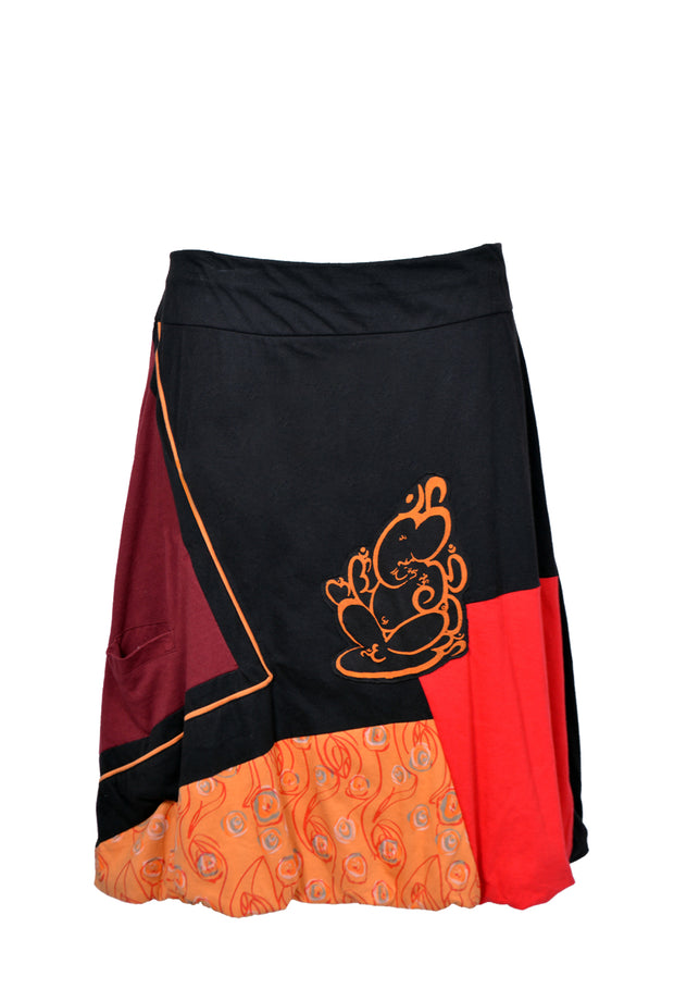 Ladies Knee-length Colorful Skirt With an Elasticated Waistband and Ganesh Print - Craze Trade Limited