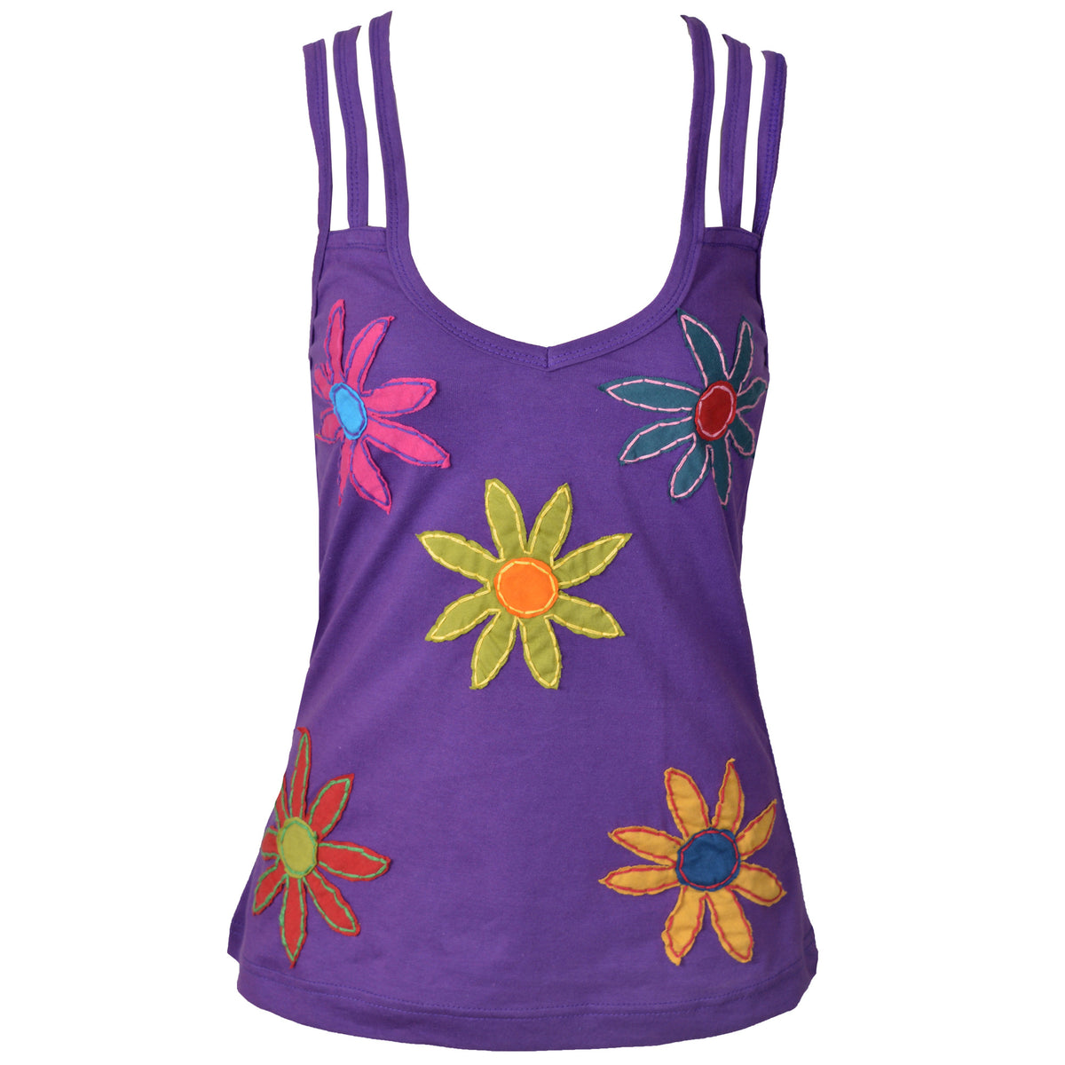 Flower Patched Spaghetti Strap Sleeveless Tops. - Craze Trade Limited