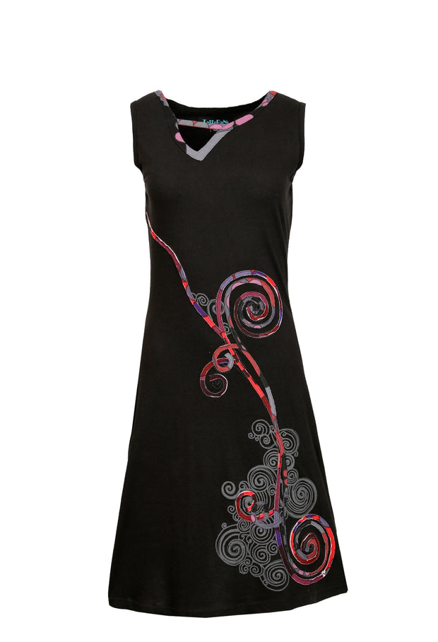 Sleeveless Dress with Colorful Spiral Print Design - Craze Trade Limited