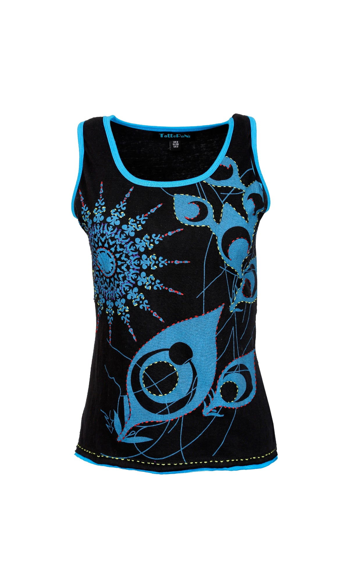 Ladies sleeveless Tank Tops with peacock feather inspired print embroidery - Craze Trade Limited