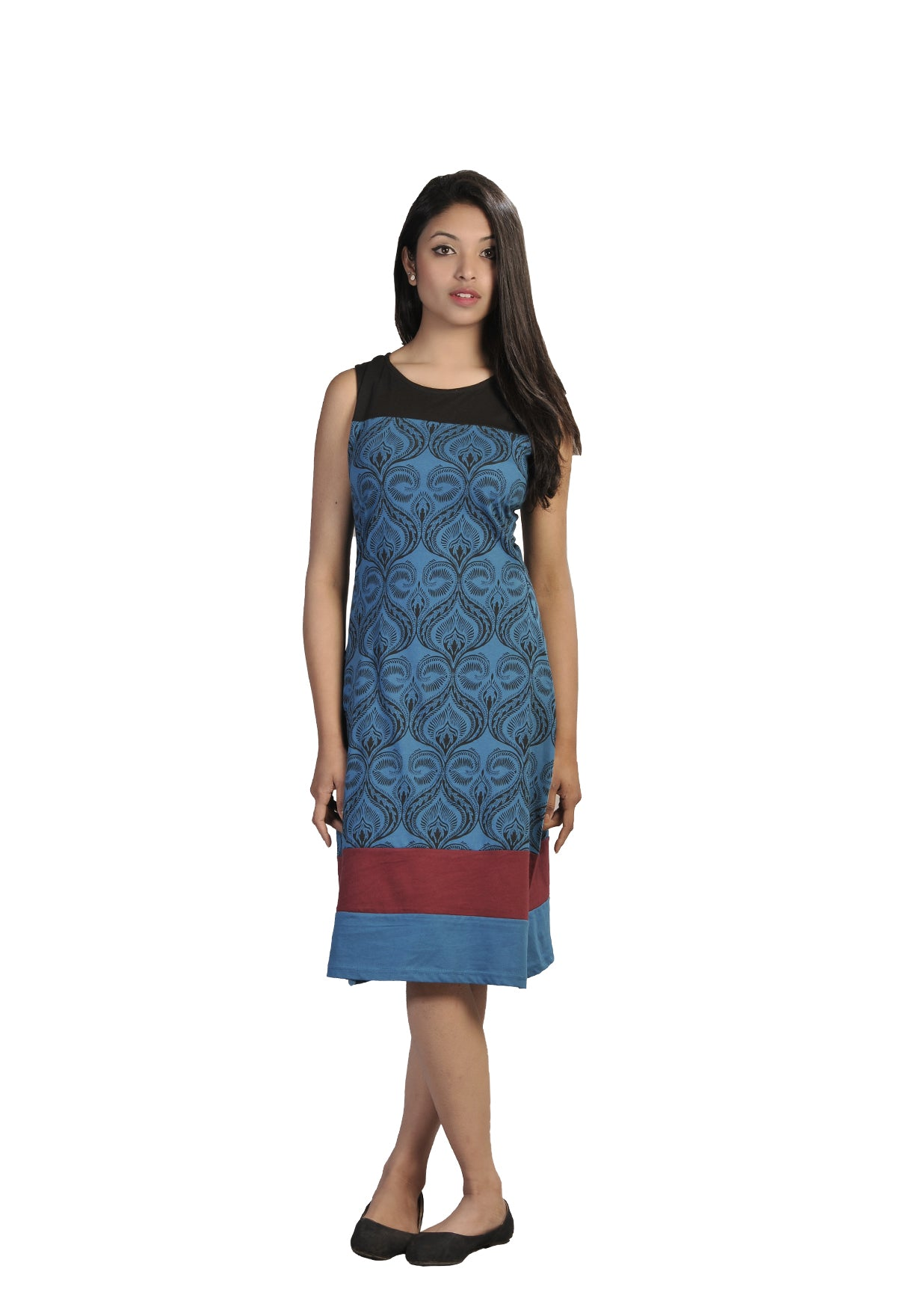 Ladies Summer Sleeveless Dress with Damask Pattern Print and Patch Design - Craze Trade Limited