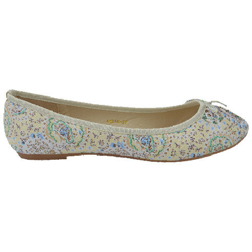 Ballerina Pumps Comfort flat Shoes with Floral Pattern-CH-SRA4016-20 - Craze Trade Limited