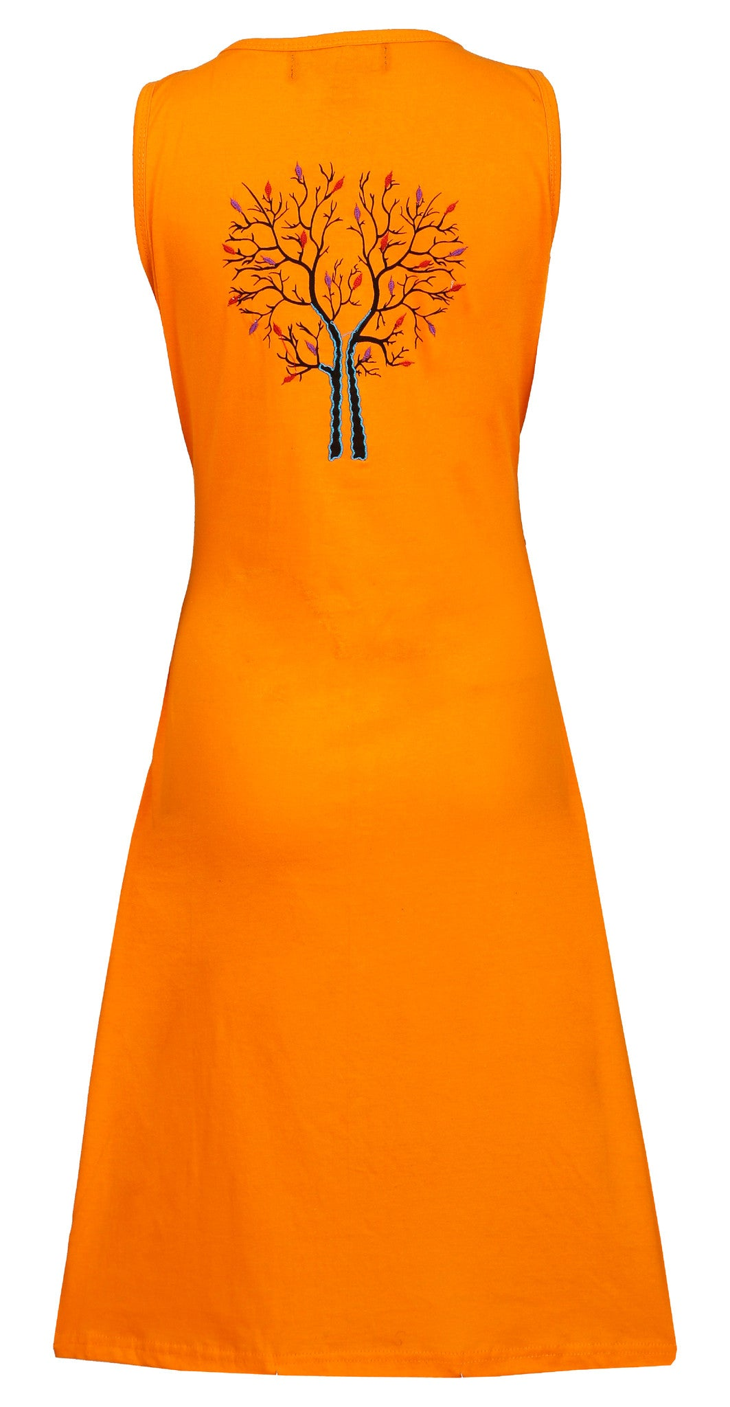 Ladies sleeveless dress with branches of winter tree print design- LMN6005 - Craze Trade Limited