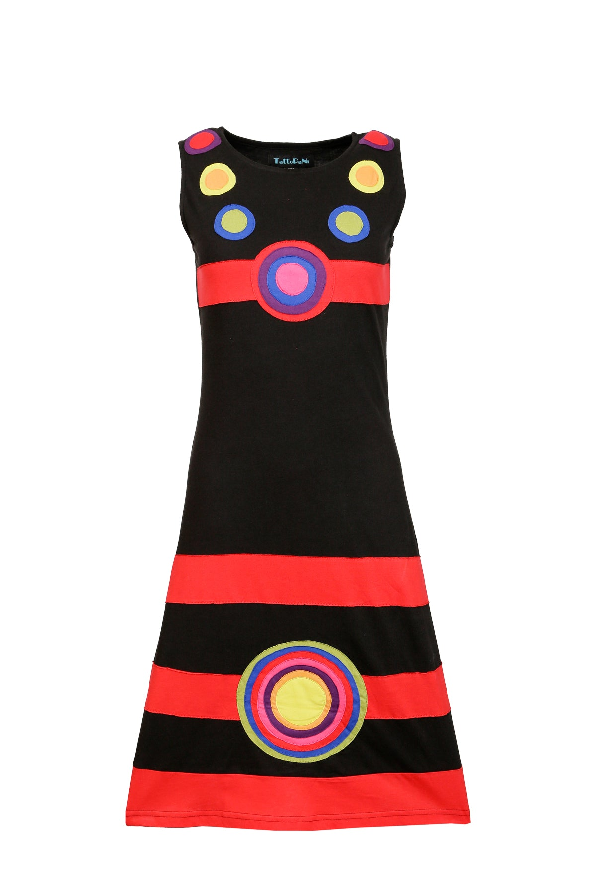 Ladies Multicolored Summer Sleeveless Dress with Patch Design - Craze Trade Limited