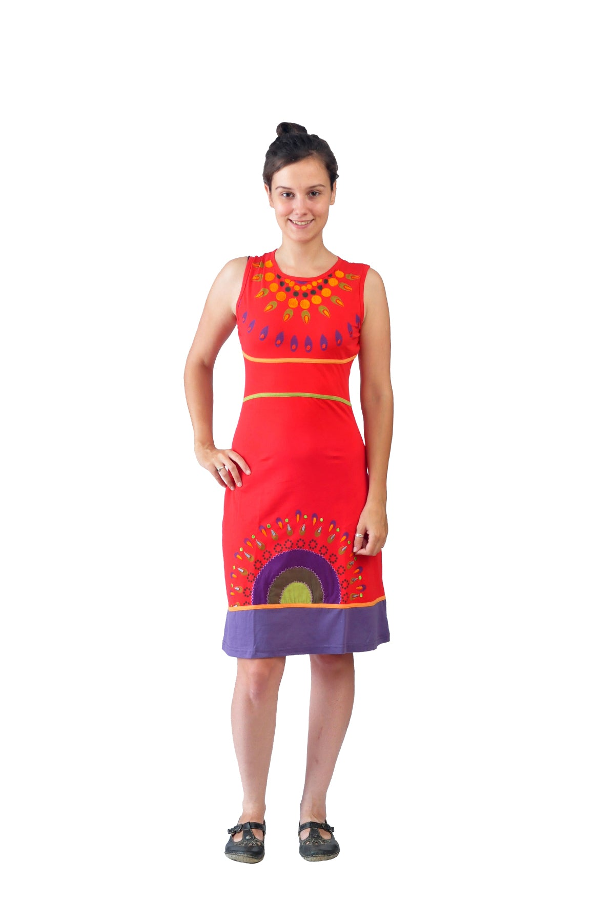 Ladies Summer Sleeveless Dress with Necklace Pattern Print and Embroidery-Elegance - Craze Trade Limited