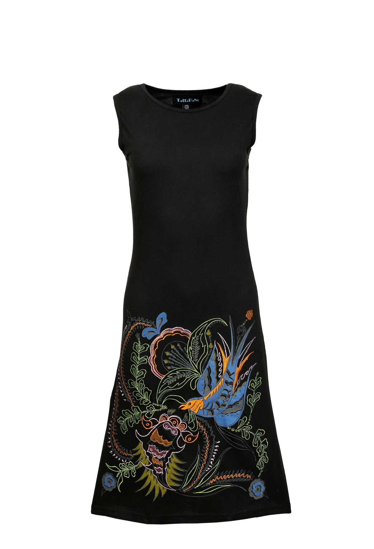 Ladies Summer Sleeveless Tunic Dress with Bird Embroidery - Craze Trade Limited