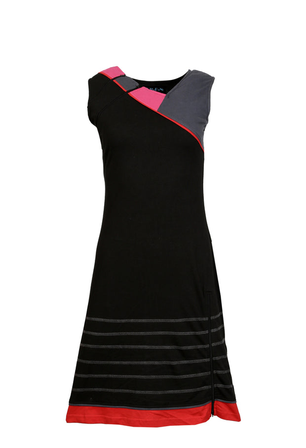 Ladies Summer V-Neck Sleeveless Dress with Colorful Print and Patch - Craze Trade Limited