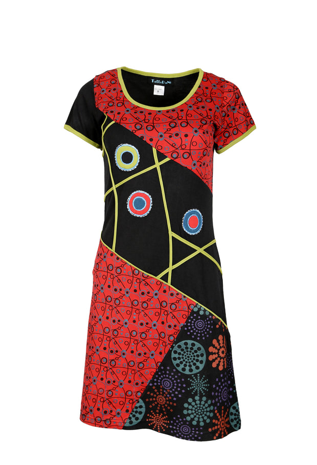 Ladies Short Sleeved Dress with Multicolored Patch Print & Embroidery- SN1211 - Craze Trade Limited