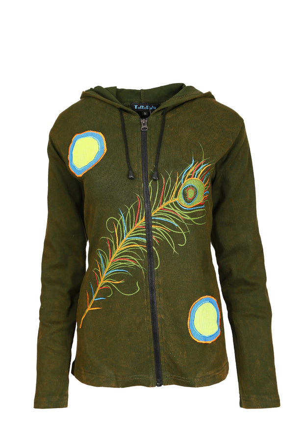 Ladies Cotton Jacket With Hood ,Side Pocket & Peacock Feather Design - Craze Trade Limited