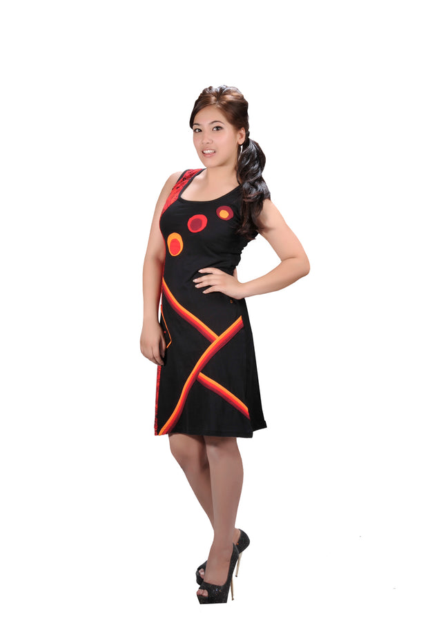 Ladies Summer Sleeveless Dress with Colorful Patch and Front Pocket-Galaxy- LMN-4072 - Craze Trade Limited