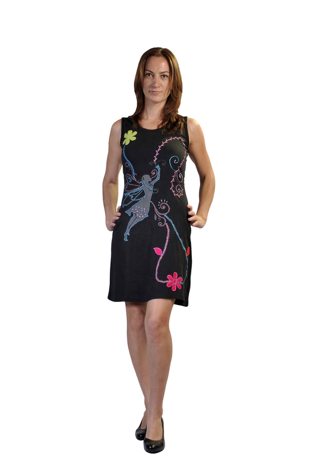 Ladies summer sleeveless dress with embroidery, patch & spiral print design- LG-BFJ-03 - Craze Trade Limited