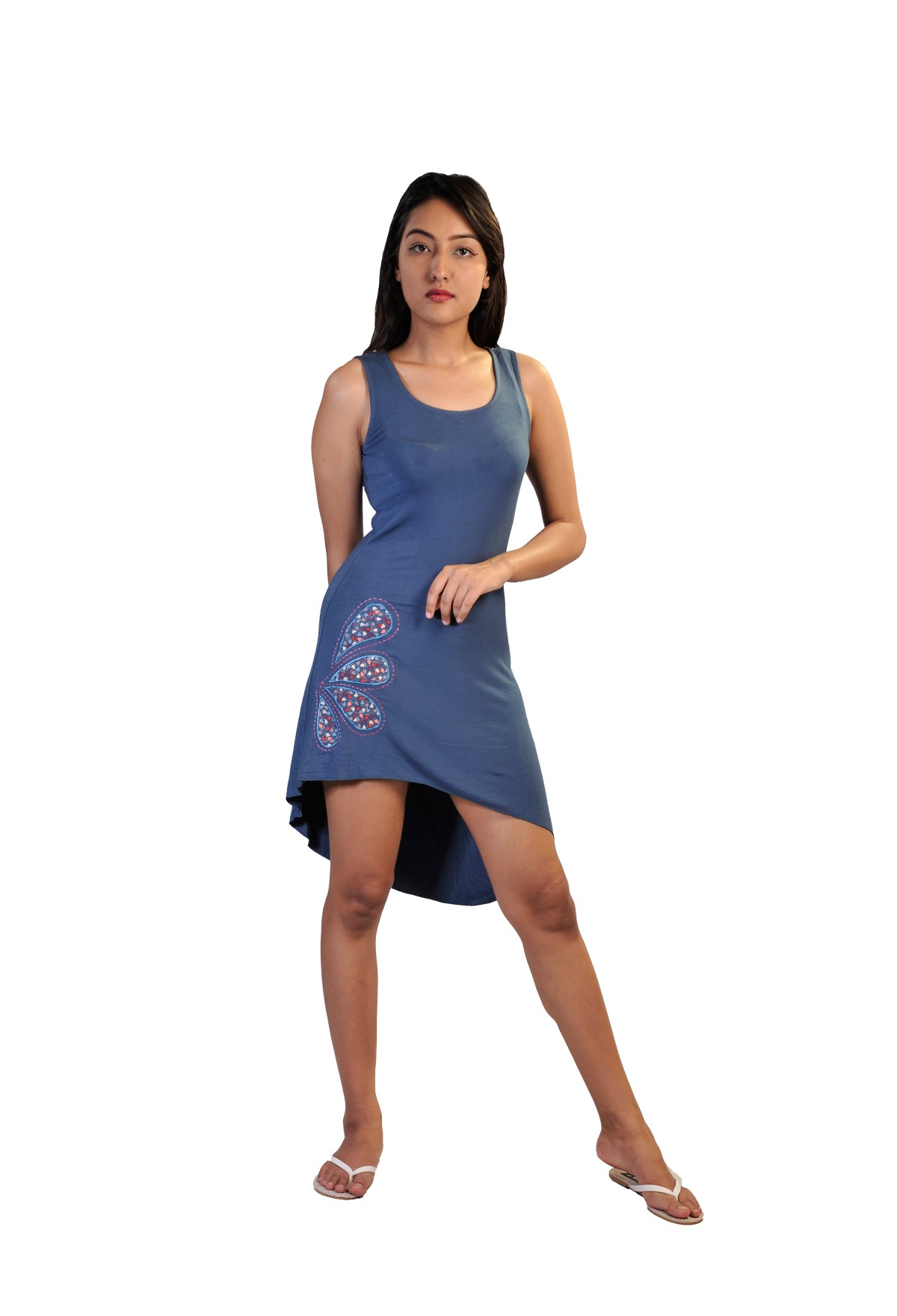 Blue Sleeveless Dress With Colorful Print In Back- NF-DR01 - Craze Trade Limited