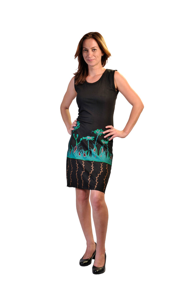 Ladies Sleeveless Dress With Colorful Flower Embroidery- LG-BFJ-12 - Craze Trade Limited