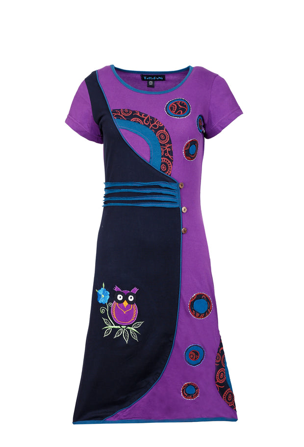 Ladies Short Sleeved Dress with Multicolored Floral & Owl Patch & Embroidery - SN1183 - Craze Trade Limited