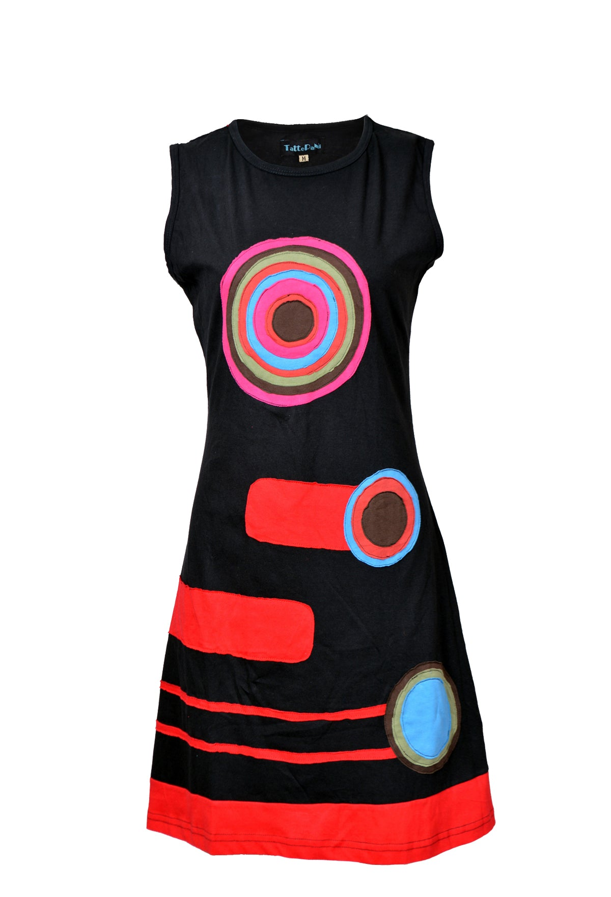 Ladies Sleeveless Dress with Muticolored Circle Patch Design-RAINBOW - Craze Trade Limited