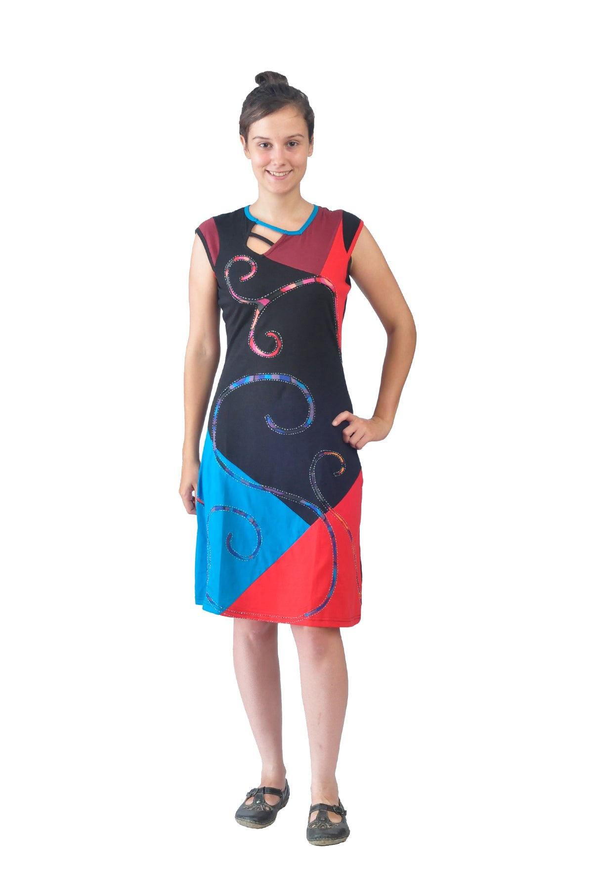 Ladies Sleeveless Evening Dress with Multicolored Pattern Embroidery and Patch - Craze Trade Limited