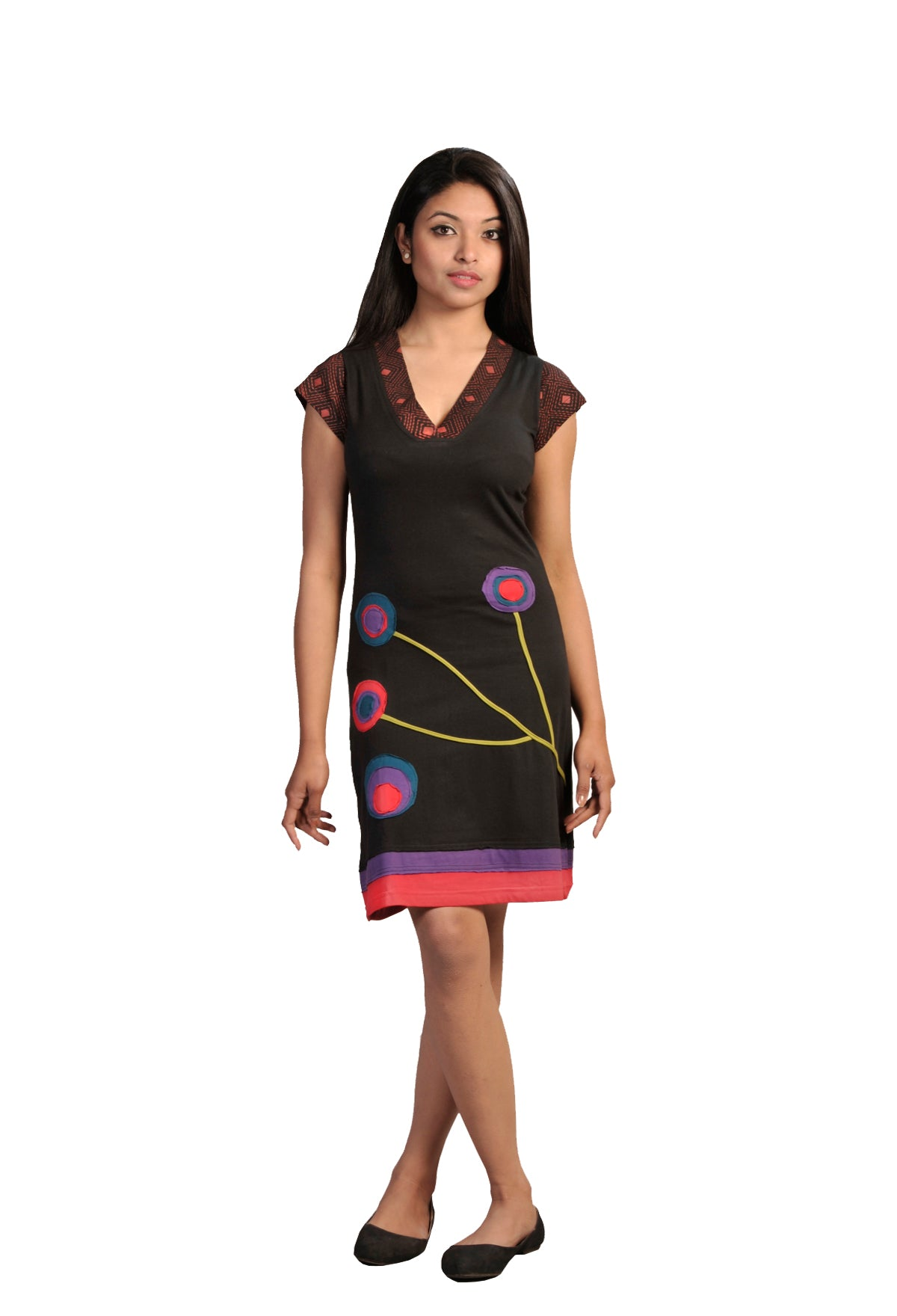Ladies Short Sleeved Dress With Multicolored Embroidery & Patch design- SN1162 - Craze Trade Limited