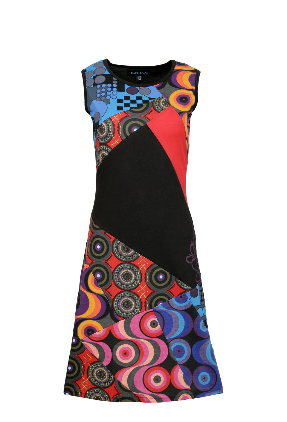 Ladies Summer Sleeveless Dress with Colorful Circle Print and Patch Design - Craze Trade Limited