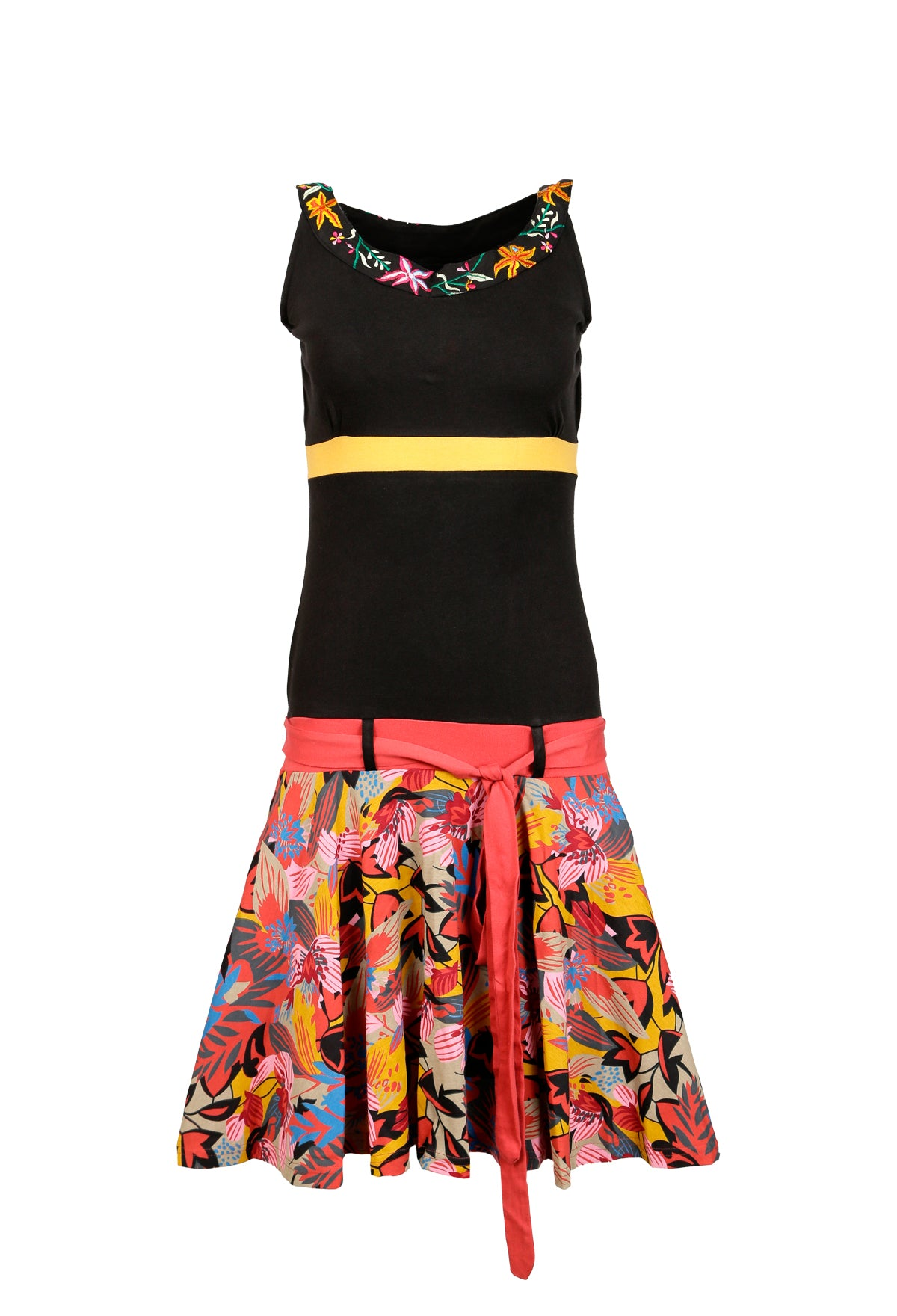Ladies Summer Sleeveless Dress with Colorful Flower Pattern Print. - Craze Trade Limited