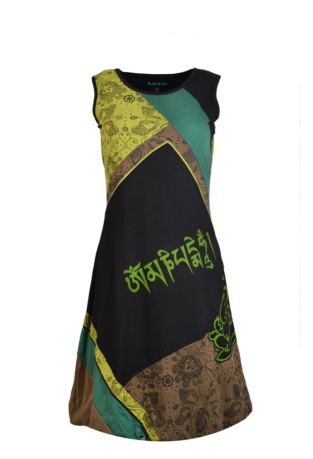 Women's Sleeveless Cotton Dress Mantra & Ganesh Print Evening Dress - Craze Trade Limited