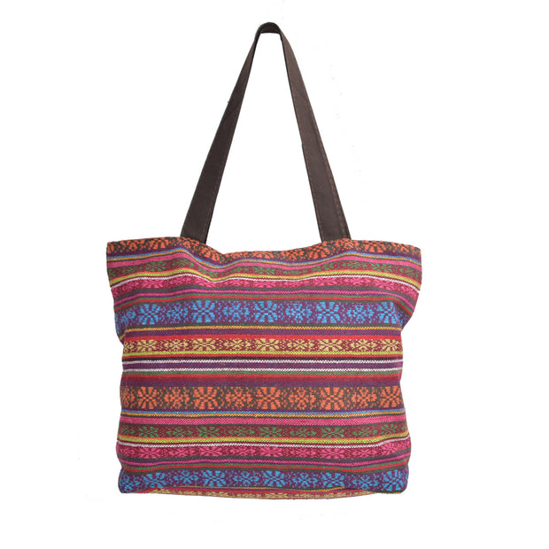 Multicolored Canvas shoulder Tote Bag with Colorful Embroidered Tribal Patterns - Craze Trade Limited