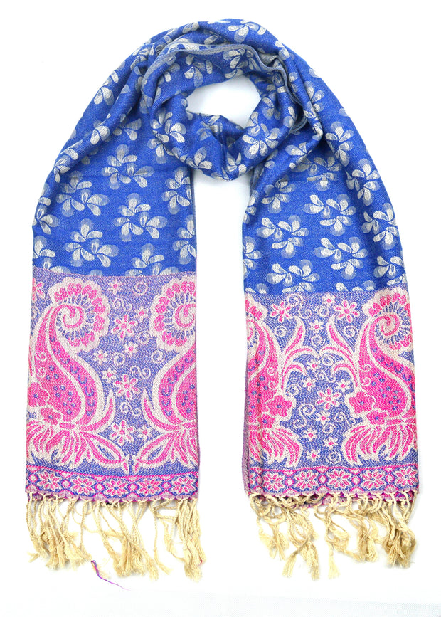 Soft Scarf Blue and Pink-(CA-SCARF-BLU4) - Craze Trade Limited