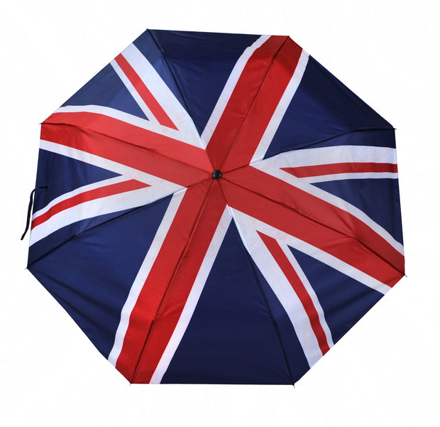 Folding umbrella with printed Union Jack. Light & easy to carry -(UK01) - Craze Trade Limited