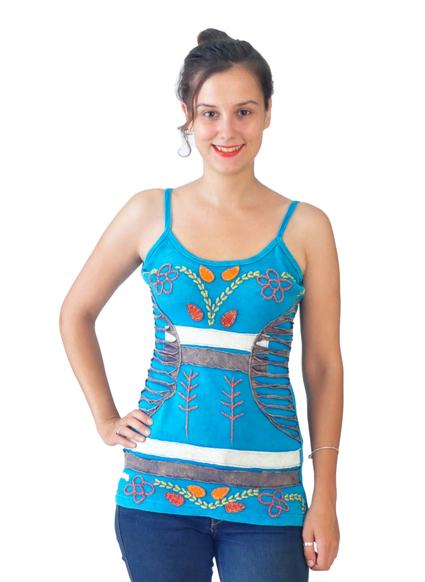 Multicolored Embroidery Strappy Summer Tops - Craze Trade Limited