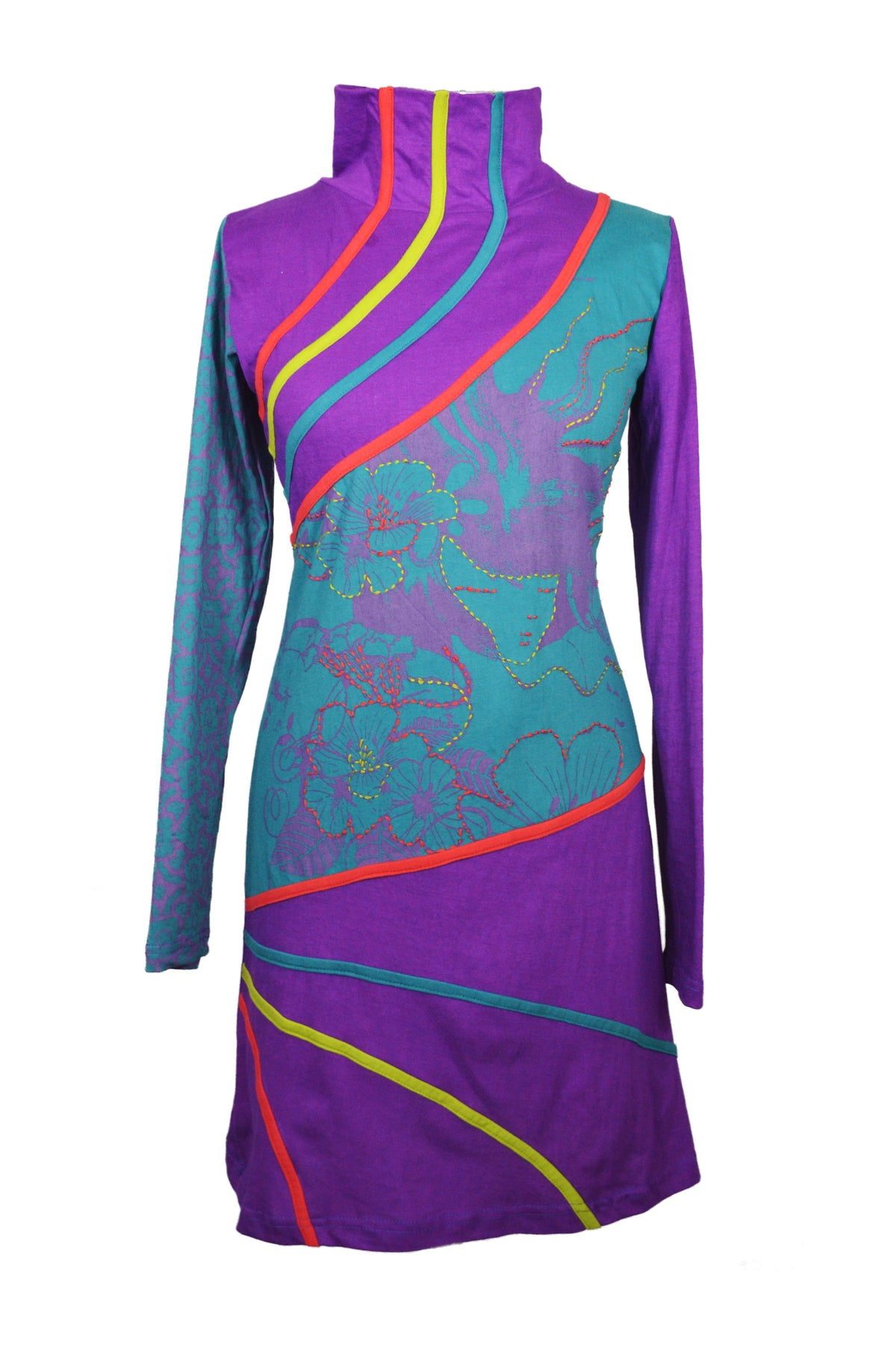Hi-Neck Designed Dress With Patch And Embroidery. - Craze Trade Limited
