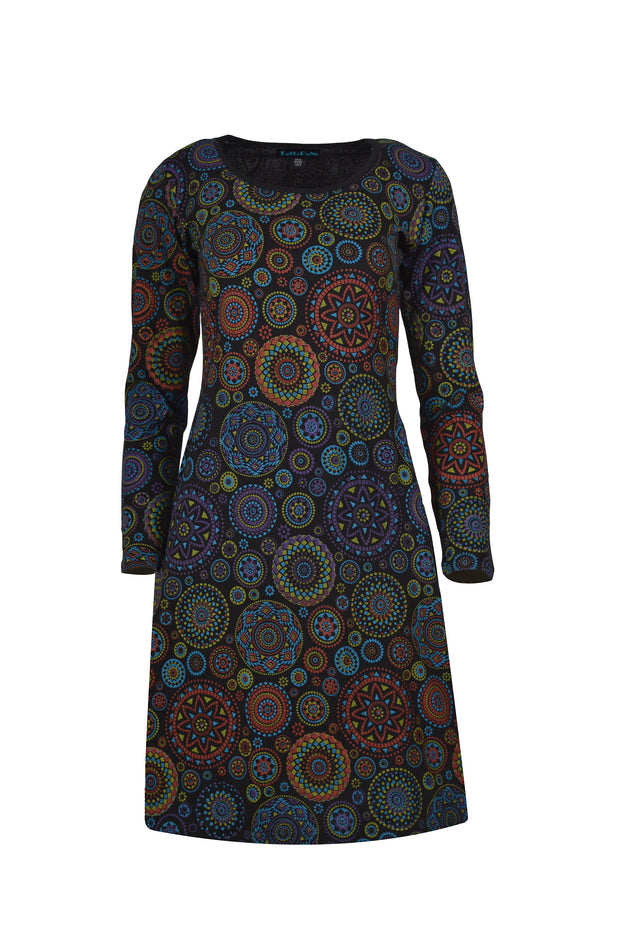 ALL OVER MANDALA PRINT LONG SLEEVE DRESS - Craze Trade Limited