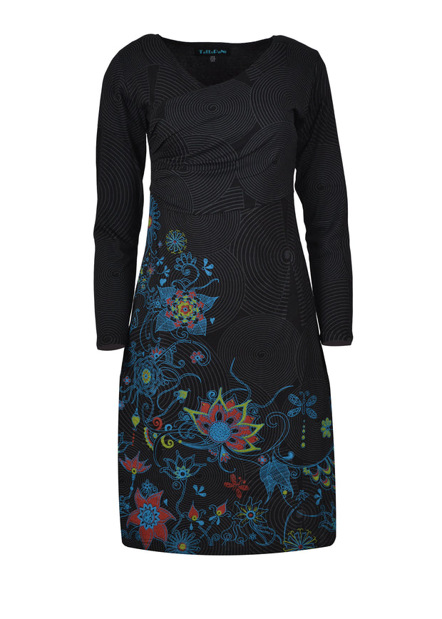 LONG SLEEVE DRESS WITH FLORAL EMBROIDERY DRESS - Craze Trade Limited